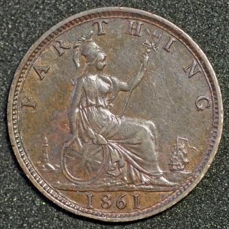 1861 Farthing 2 Rev