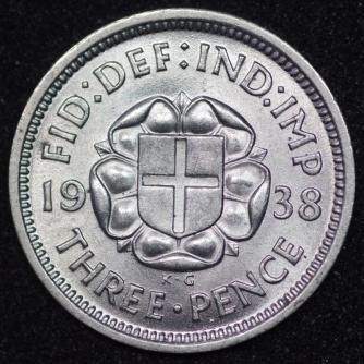 1938 George VI Silver Threepence Rev