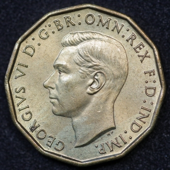 1944 George VI Brass Threepence Obv