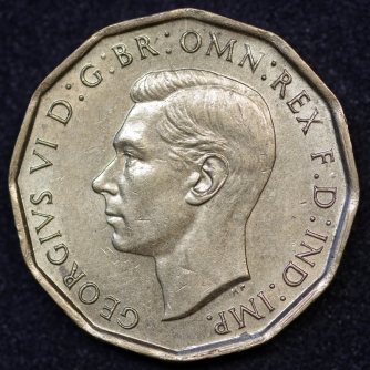 1945 George VI Brass Threepence A Obv