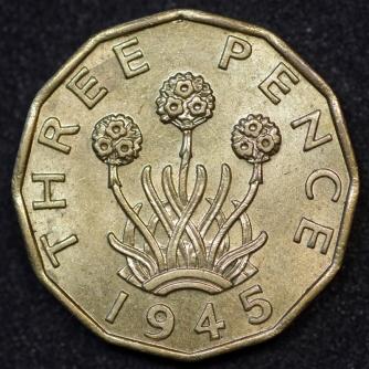 1945 George VI Brass Threepence A Rev