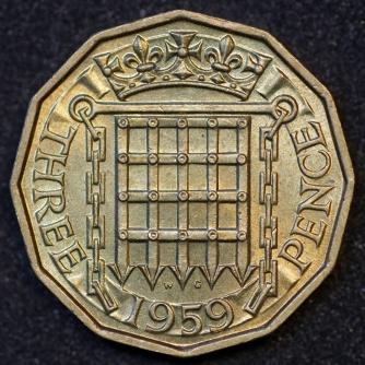 1959 Threepence Brass Rev